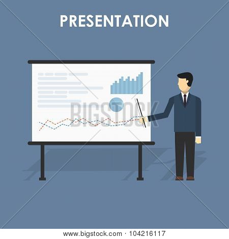 Businessman Presenting, White Billboard With Empty Space.