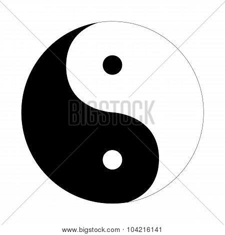 Yin Yang Icon Flat On A White Background