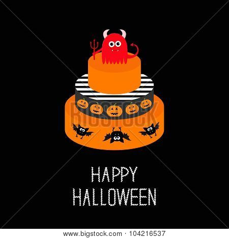 Cake With Evil, Trident, Pumpkin And Bat. Happy Halloween. Black Background. Flat Design