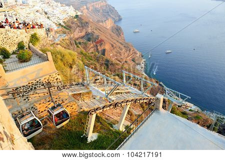 SANTORINI, GREECE - AUGUST 07, 2015: cable road on Santorini island. Santorini, classically Thera, and officially Thira, is an island in the southern Aegean Sea