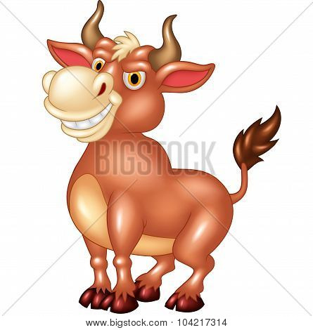 Cartoon mascot bull with large horns