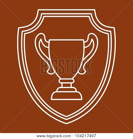 Award cup sport or business background in line style