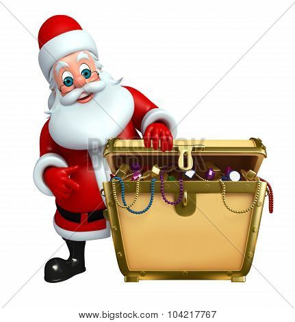 Cartoon Santa Claus With Treasury Box
