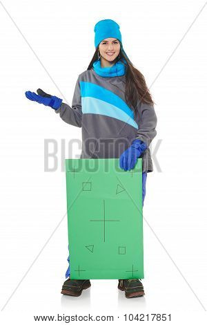 Winter woman with banner