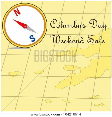 Happy Columbus Day promotion sale map