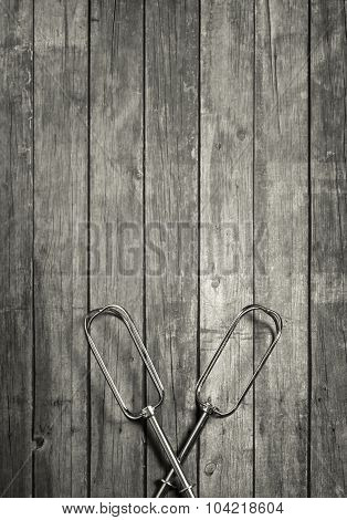 Kitchen Utensils On Wooden Background Template