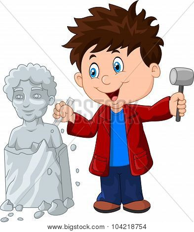Sculptor boy holding chisel and hammer