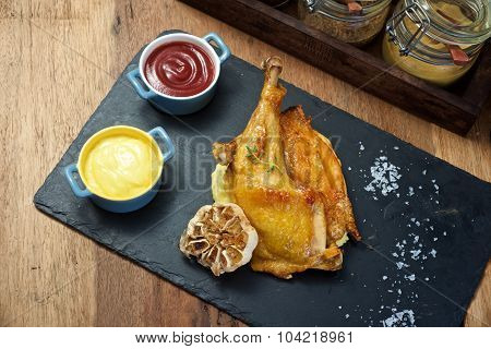 Grilled Chicken With Mash Potatoes Dish From Top View