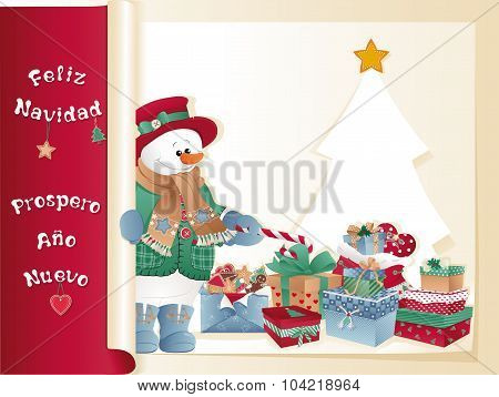 Christmas Card With Snowman, Gifts And Tree