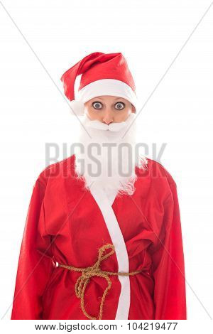 Funny Santa Girl Looking To The Beholder, Isolated On White, Concept Christmas