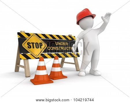 Under construction sign and worker