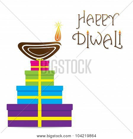 happy diwali greeting design with gift box