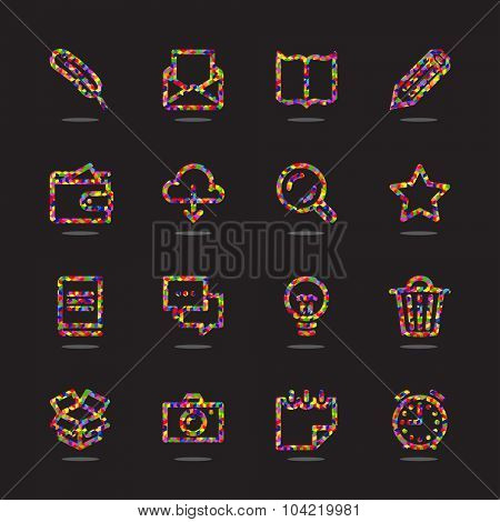 Abstract color Icon set for web and mobile. Modern minimalistic flat design elements of working with paper, reading and writing, time management and ideas