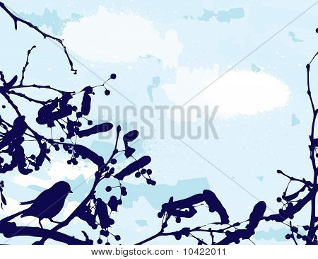 abstract grange vector background. Bird on the tree