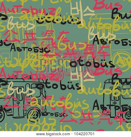 Textile Seamless Pattern Of Colored Buses And Bus Words In Diffe