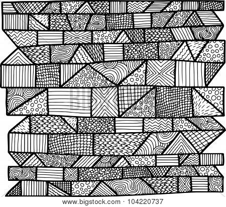 Zentangle Lines Pattern Black & White 1