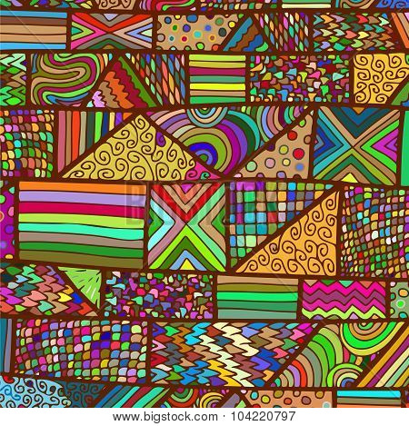 Zentangle Lines Pattern Colored Bright Brown
