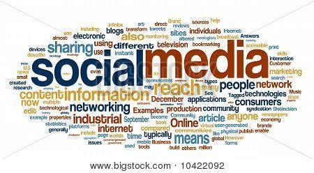 Los medios de comunicación sociales de la palabra nube