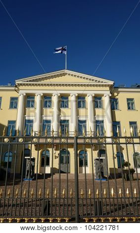 The Presidential Palace and its guards in Helsinki, Finland