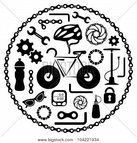 Vector Bike Tools Icons
