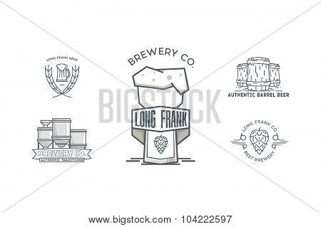 Set of vintage line art badge, logo templates for beer.