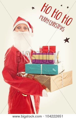 Santa Girl Holding A Lots Of Presents, Text Ho Ho Ho Merry Christmas On A Vintage Background
