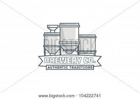 Line brewery co. logo. Stock vector.