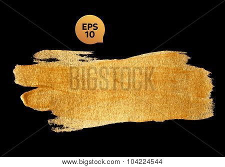 Gold watercolor texture paint stain abstract illustration black background. Shining brush stroke for