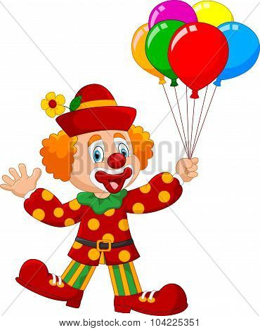 Adorable clown holding colorful balloon isolated on white background