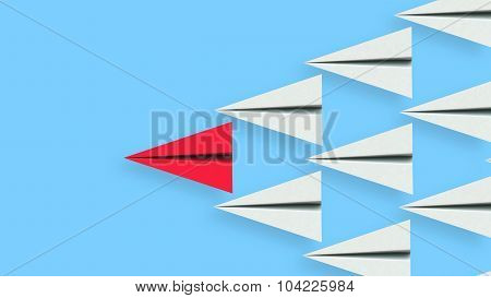 Leadership Illustration Of Paper Plane Leader