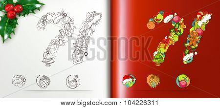 Christmas mark, vector