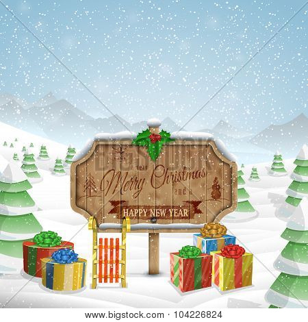 Christmas greeting board vector illustration.