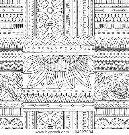 Zentangle seamless background in vector with tribal doodles.