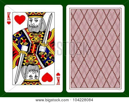 Playing card with a King of hearts and backside background