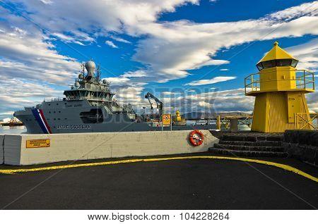 Coast guard ship at the entrance of Reykjavik harbor