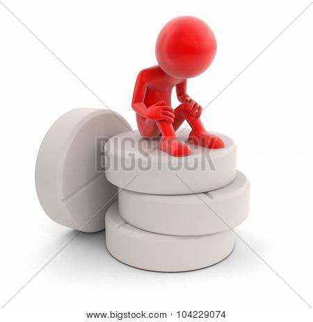 Man and tablets (clipping path included)