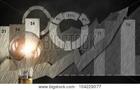 Glowing light bulb on background of diagrams and graphs