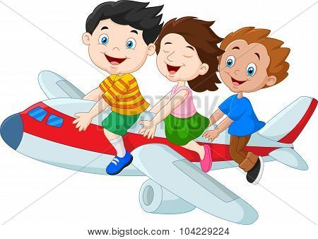 Cartoon little kids riding airplane isolated on white background