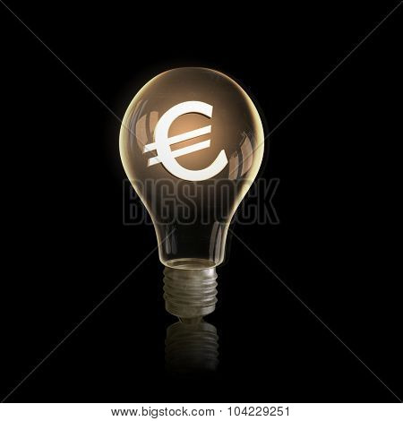Light bulb with euro symbol on dark background