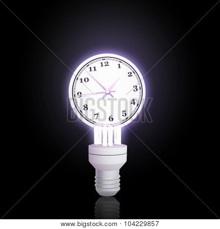 Light bulb with time concept on black bakground