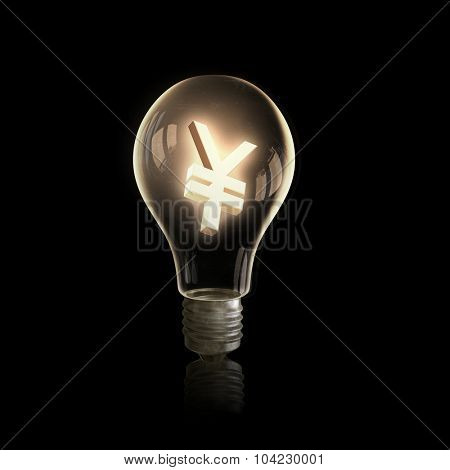 Light bulb with yen symbol on dark background
