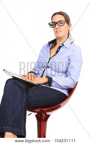 sexy and beautiful businesswoman with glasses, business photo