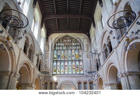 ROCHESTER, UK - MAY 16, 2015: Interior of Rochester Cathedral the England's second oldest, having be