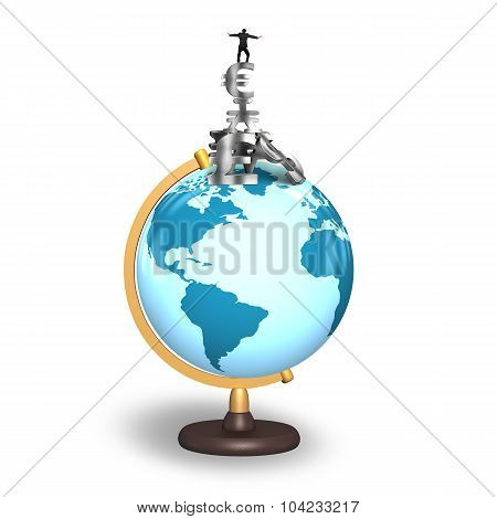 Businessman Balancing Stack Money Symbols On Terrestrial Globe