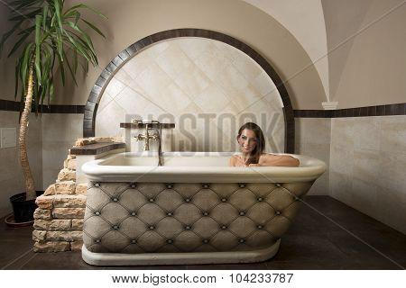 Smiling Girl In A Bathtub