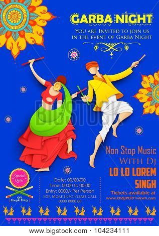 illustration of couple playing Dandiya in disco Garba Night poster
