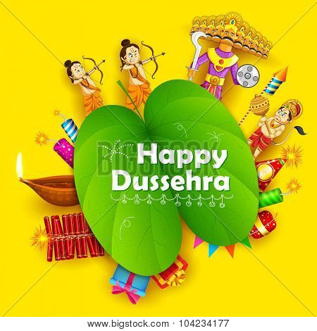 illustration of Lord Rama, Laxmana, Hanuman and Ravana with sona patta in Happy Dussehra background