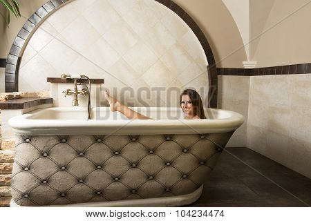 Brunette Girl In A Bathtub