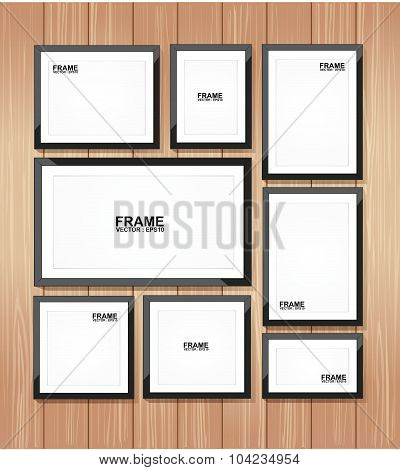 Picture frame vector. Photo art gallery on wood wall.