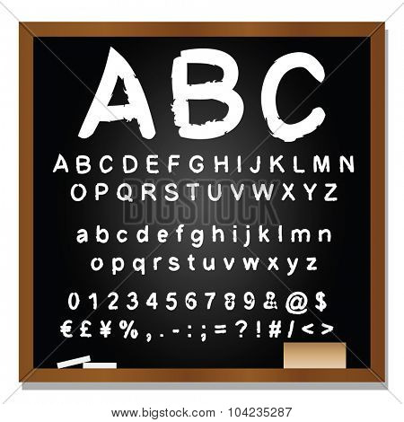 Concept or conceptual set or collection of black handwritten, sketch or scribble fonts isolated on blackboard black background